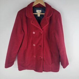 L. L. bean womens pea coat red cool buttons M